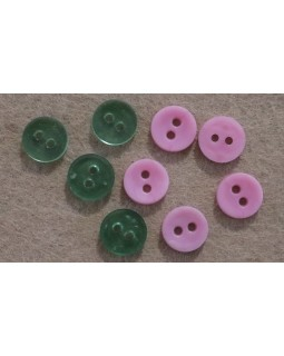 Гудзики сорочкові на 2 отвори. Зеленого та рожевого кольору. Арт 151